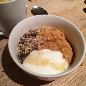 Carrot cake porridge yoghurt seeds healthy paleo